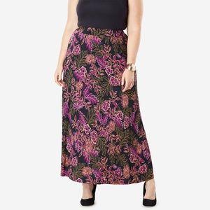 Jessica London M/L Maxi Skirt Stretch Floral NEW!